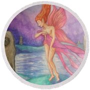 Softly,on The Wings Of Night Round Beach Towel