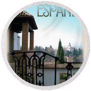 Sojourn In Espania Round Beach Towel