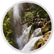 Round Beach Towel featuring the photograph Sol Duc Falls by Adam Romanowicz