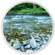 Sol Duc River In Summer Round Beach Towel