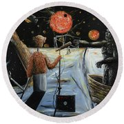 Round Beach Towel featuring the painting Solar Broadcast -transition- by Ryan Demaree