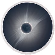 Solar Corona During The Eclipse Of August 21 2017 Round Beach Towel