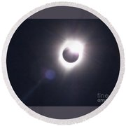 Solar Eclipse 2017 Lens Flare Round Beach Towel
