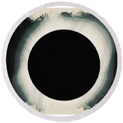 Solar Eclipse 2017 Watercolor Round Beach Towel