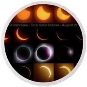 Solar Eclipse - August 21 2017 In Harbine Nebraska Round Beach Towel
