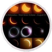 Solar Eclipse - August 21 2017 In Harbine Nebraska Round Beach Towel