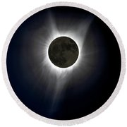 Solar Eclipse Corona Round Beach Towel