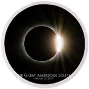 Round Beach Towel featuring the photograph Solar Eclipse Diamond Ring With Text by Lori Coleman