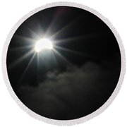 Solar Eclipse In The Clouds Round Beach Towel