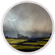 Solar Eclipse Over County Clare Countryside Round Beach Towel