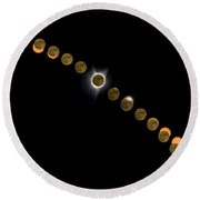 Solar Eclipse Stages 2017 Round Beach Towel