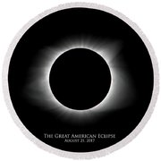 Round Beach Towel featuring the photograph Solar Eclipse Ring Of Fire With Text by Lori Coleman