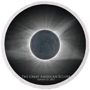 Round Beach Towel featuring the photograph Solar Eclipse With Moon Detail And Text by Lori Coleman