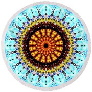 Round Beach Towel featuring the digital art Solar Flare 1 by Wendy J St Christopher