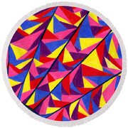 Round Beach Towel featuring the drawing Solar Fractals by Kim Sy Ok