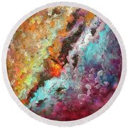 Solar Fusions Abstract Painting.  Round Beach Towel