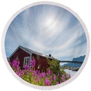 Solar Halo Above Rorbu Round Beach Towel by Alex Conu