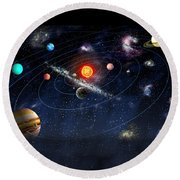 Round Beach Towel featuring the digital art Solar System by Gina Dsgn