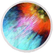 Solar Vibrations. Acrylic Abstract Painting Round Beach Towel