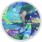 Round Beach Towel featuring the painting Solar Wind by Denise Weaver Ross