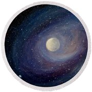 Round Beach Towel featuring the painting Solar Wind by Fred Wilson