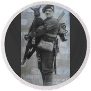 Round Beach Towel featuring the photograph Soldier And Goat by Therese Alcorn