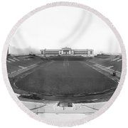 Soldier Field In Chicago Round Beach Towel by Underwood Archives