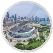 Round Beach Towel featuring the photograph Soldier Field by Sebastian Musial
