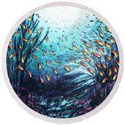 Soldier Fish And Coral  Round Beach Towel
