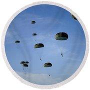 Soldiers Descend Under A Parachute Round Beach Towel