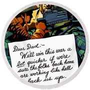 Soldier's Letter Home To Dad -- Ww2 Propaganda Round Beach Towel
