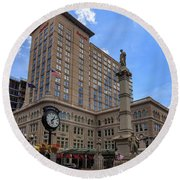 Soldiers Monument In Penn Square In Lancaster Pa Round Beach Towel