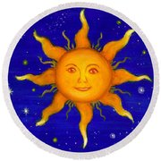 Round Beach Towel featuring the painting Soleil by Sandra Estes