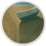 Solitary Boat Round Beach Towel