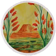 Solitary Sunset Round Beach Towel by Maria Urso
