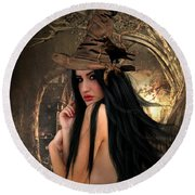 Solitary Witch Round Beach Towel