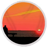 Solitude At Sunrise Round Beach Towel