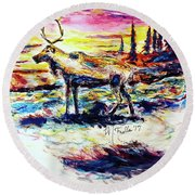 Solitude Caribou Round Beach Towel