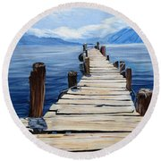 Crooked Dock  Round Beach Towel