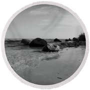 Solitude On The Beach As Day Ends Round Beach Towel