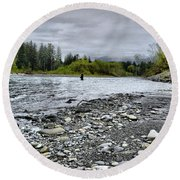 Solitude On The River Round Beach Towel