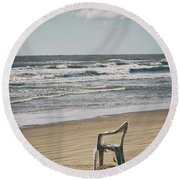 Solo On The Beach Round Beach Towel