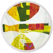 Round Beach Towel featuring the mixed media Solstice by Elena Nosyreva