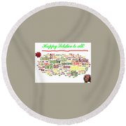 Solstice Greeting Round Beach Towel