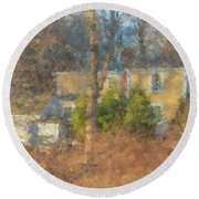 Solstice Morning Light On Colonial Home Round Beach Towel