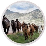 Sombrero Ranch Horse Drive, An Annual Event In Maybell, Colorado Round Beach Towel