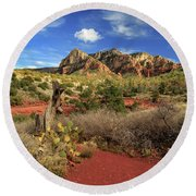 Some Cactus In Sedona Round Beach Towel by James Eddy
