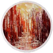 Round Beach Towel featuring the painting Some Golden Day by Tatiana Iliina
