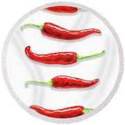 Round Beach Towel featuring the painting Some Likes It Hot Red Chili  by Irina Sztukowski