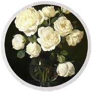 More White Roses In Brandy Snifter Round Beach Towel
